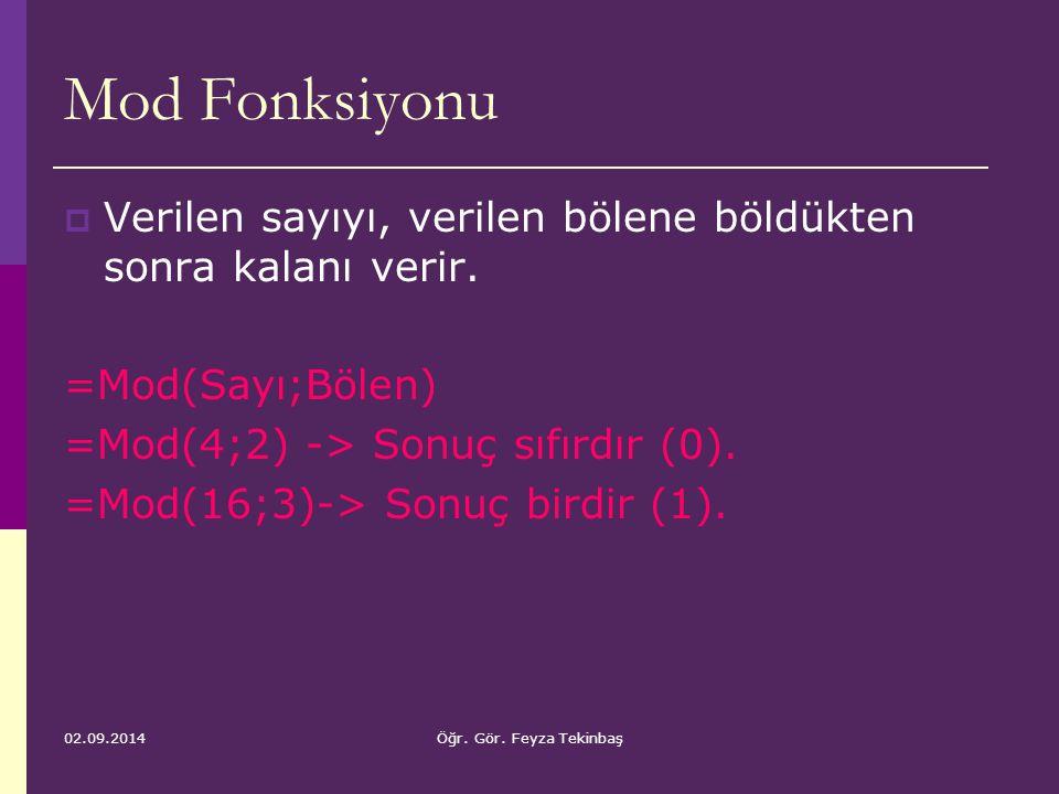 Mod Fonksiyonu Verilen sayıyı, verilen bölene böldükten sonra kalanı verir. =Mod(Sayı;Bölen) =Mod(4;2) -> Sonuç sıfırdır (0).