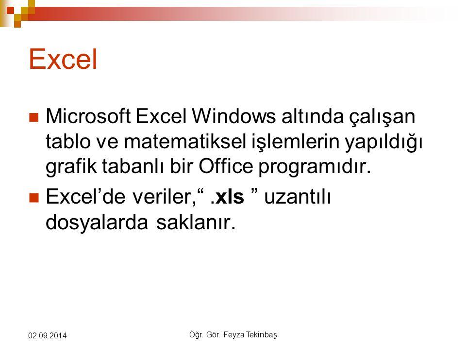 Excel Excel'de veriler, .xls uzantılı dosyalarda saklanır.
