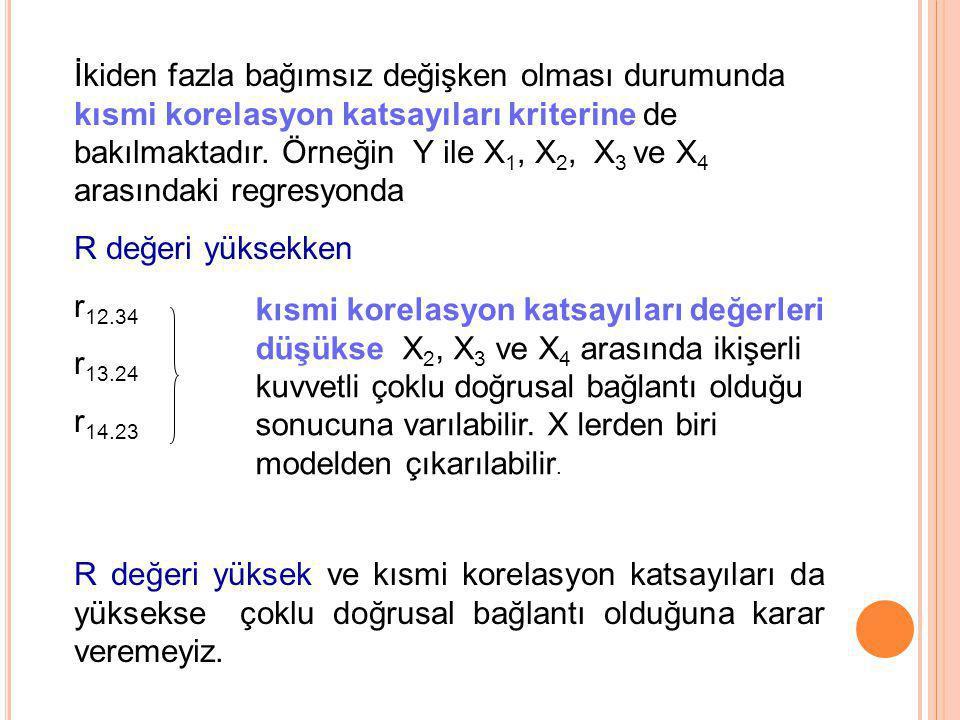 İkiden fazla bağımsız değişken olması durumunda kısmi korelasyon katsayıları kriterine de bakılmaktadır. Örneğin Y ile X1, X2, X3 ve X4 arasındaki regresyonda