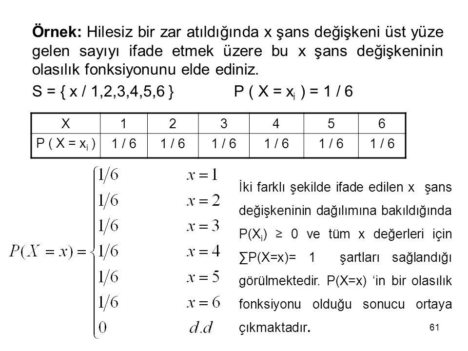 Örnek: Hilesiz bir zar atıldığında x şans değişkeni üst yüze gelen sayıyı ifade etmek üzere bu x şans değişkeninin olasılık fonksiyonunu elde ediniz.