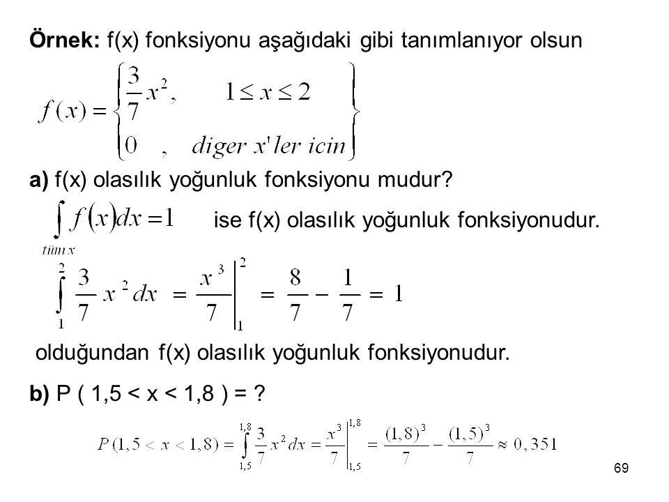 olduğundan f(x) olasılık yoğunluk fonksiyonudur.