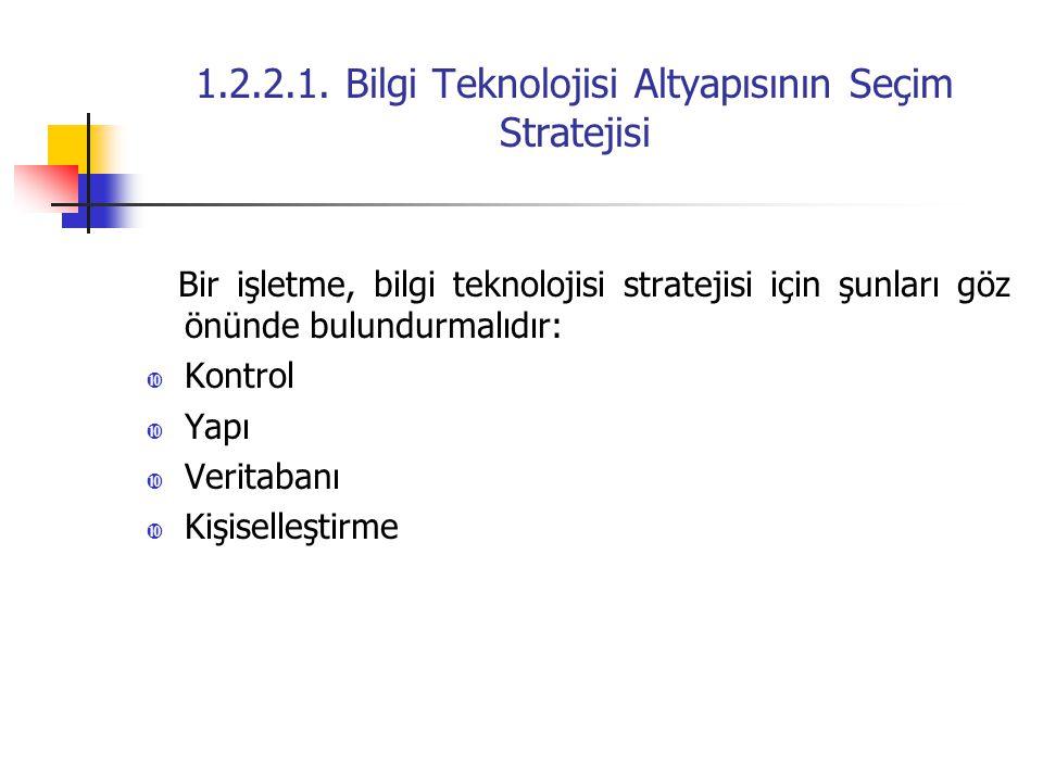 1.2.2.1. Bilgi Teknolojisi Altyapısının Seçim Stratejisi