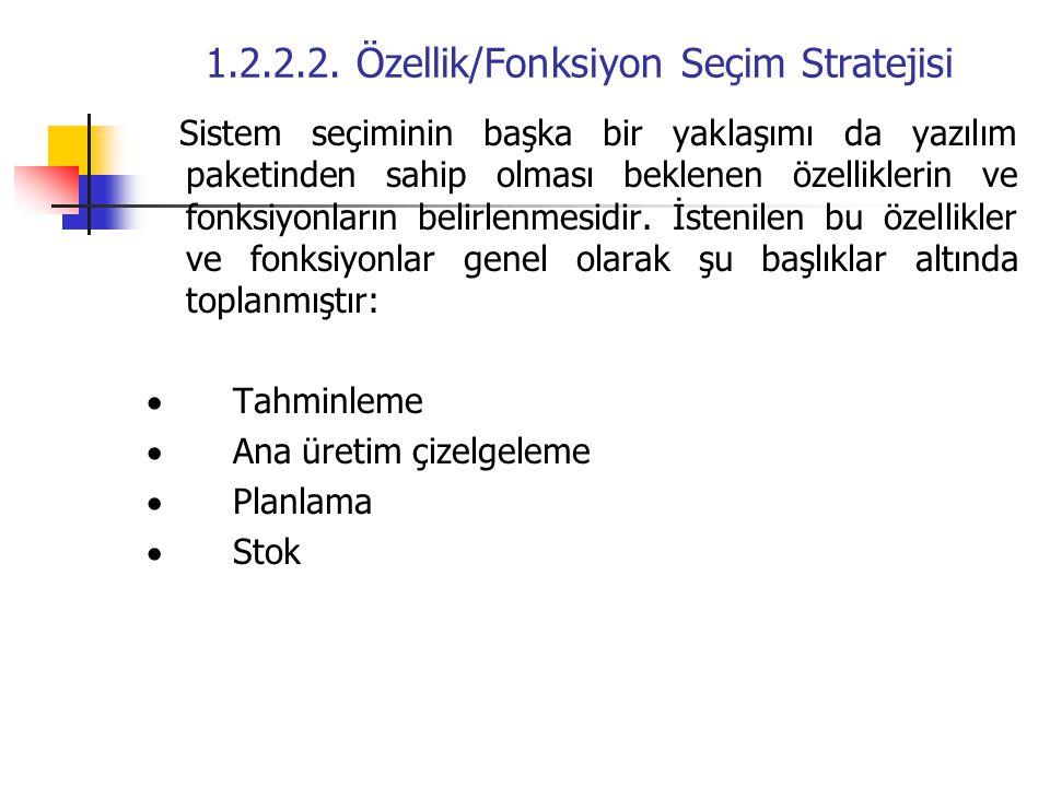 1.2.2.2. Özellik/Fonksiyon Seçim Stratejisi