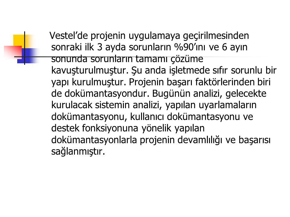 Vestel'de projenin uygulamaya geçirilmesinden sonraki ilk 3 ayda sorunların %90'ını ve 6 ayın sonunda sorunların tamamı çözüme kavuşturulmuştur.
