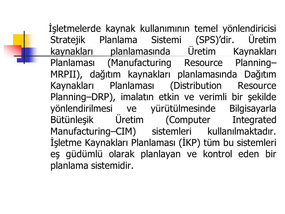 İşletmelerde kaynak kullanımının temel yönlendiricisi Stratejik Planlama Sistemi (SPS)'dir. Üretim kaynakları planlamasında Üretim Kaynakları Planlaması (Manufacturing Resource Planning–MRPII), dağıtım kaynakları planlamasında Dağıtım Kaynakları Planlaması (Distribution Resource Planning–DRP), imalatın etkin ve verimli bir şekilde yönlendirilmesi ve yürütülmesinde Bilgisayarla Bütünleşik Üretim (Computer Integrated Manufacturing–CIM) sistemleri kullanılmaktadır. İşletme Kaynakları Planlaması (İKP) tüm bu sistemleri eş güdümlü olarak planlayan ve kontrol eden bir planlama sistemidir.