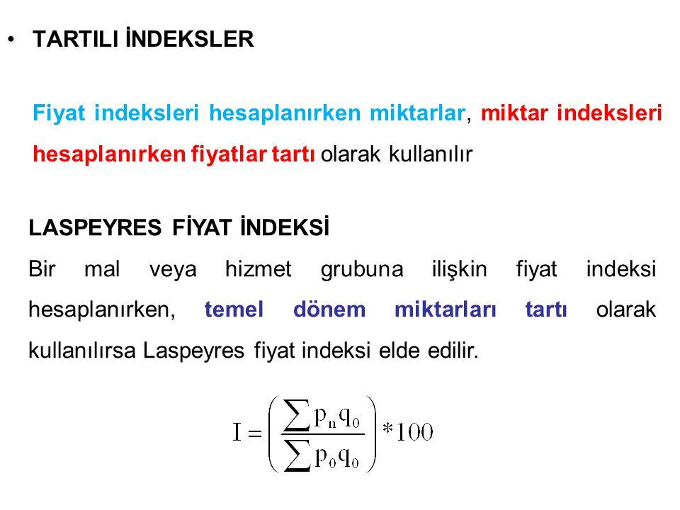 TARTILI İNDEKSLER Fiyat indeksleri hesaplanırken miktarlar, miktar indeksleri hesaplanırken fiyatlar tartı olarak kullanılır.