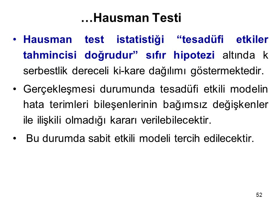 …Hausman Testi