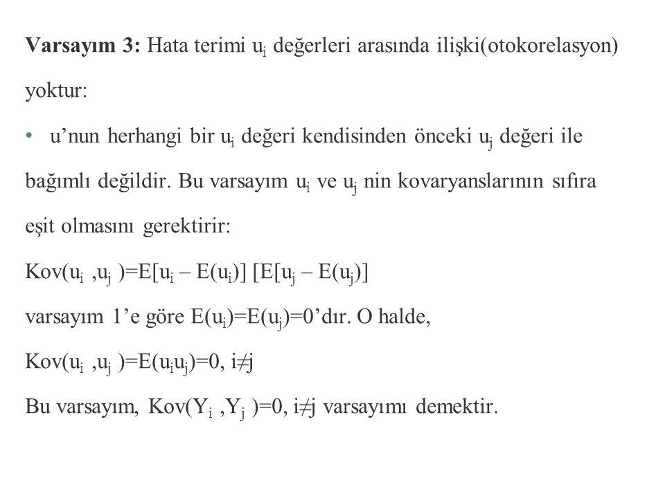 Varsayım 3: Hata terimi ui değerleri arasında ilişki(otokorelasyon)