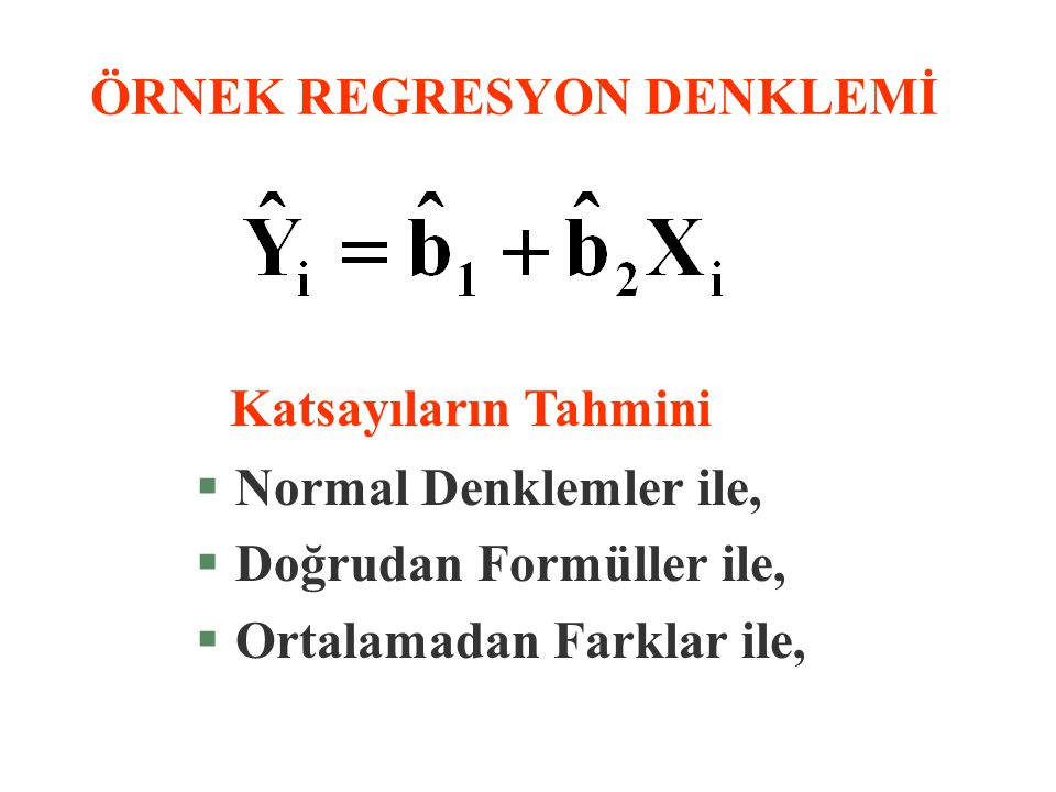 ÖRNEK REGRESYON DENKLEMİ