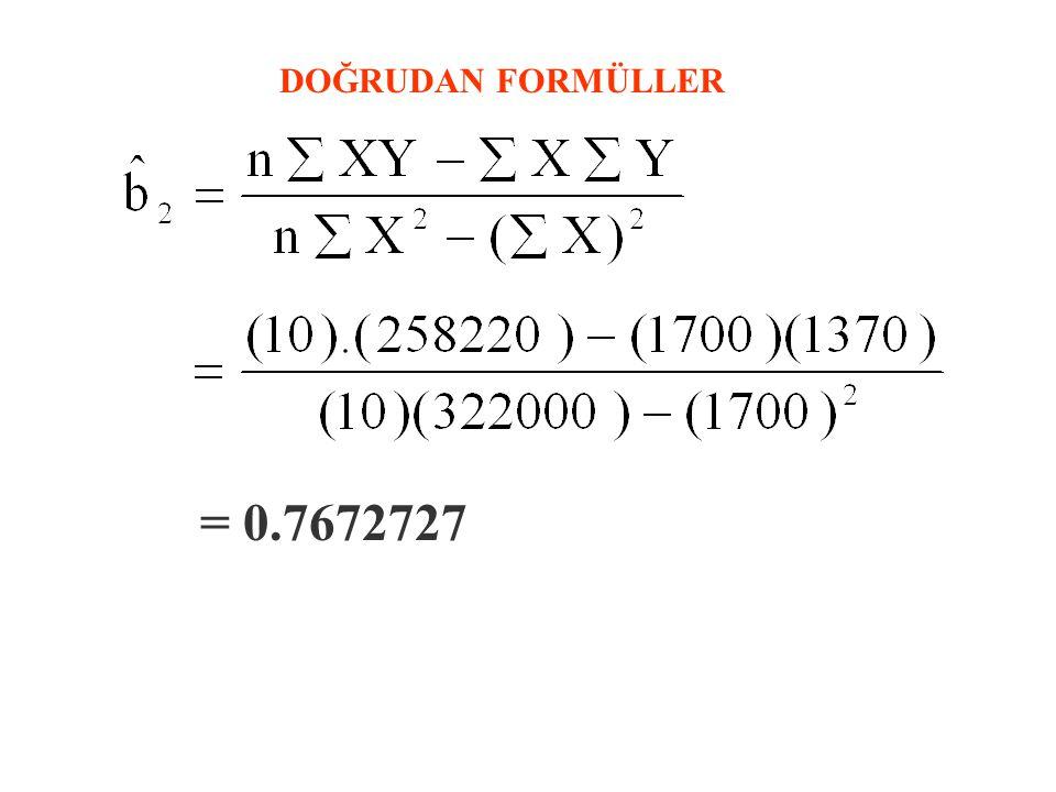 DOĞRUDAN FORMÜLLER = 0.7672727