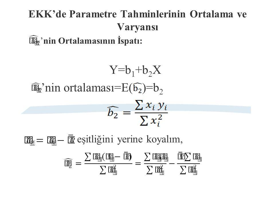 EKK'de Parametre Tahminlerinin Ortalama ve Varyansı