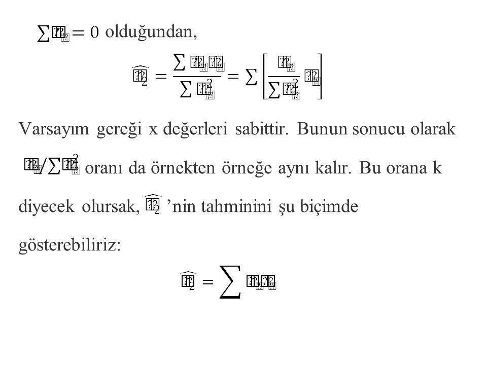 olduğundan, Varsayım gereği x değerleri sabittir. Bunun sonucu olarak