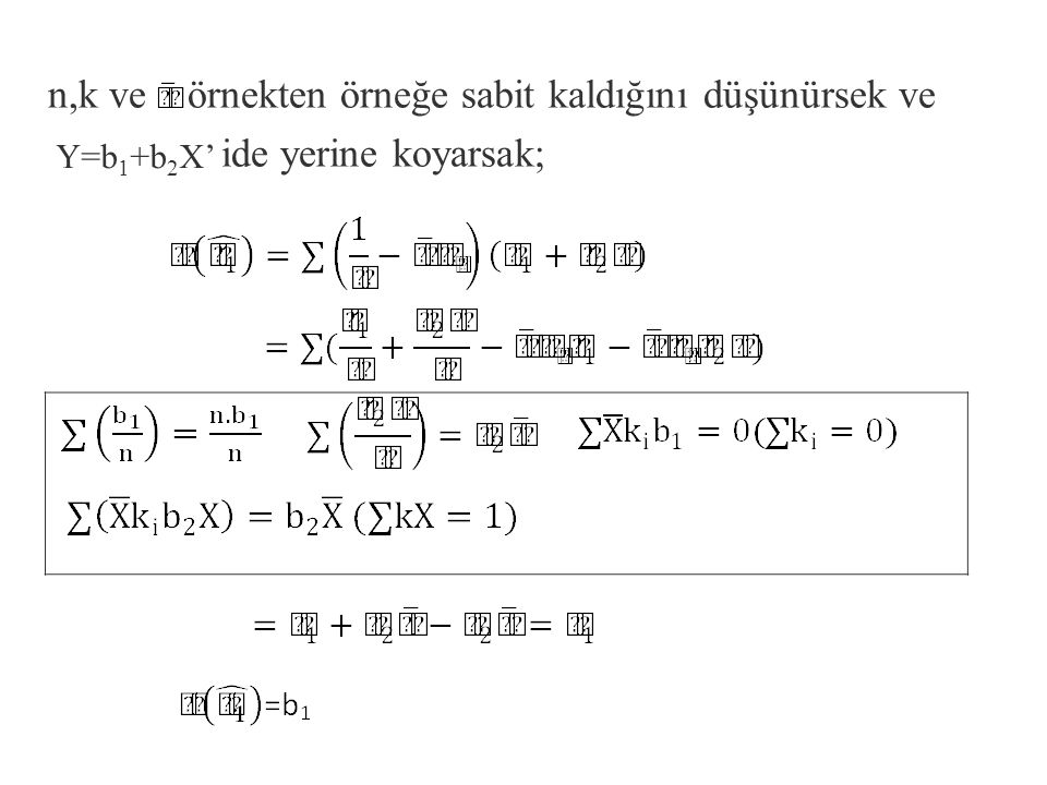 n,k ve örnekten örneğe sabit kaldığını düşünürsek ve ide yerine koyarsak;