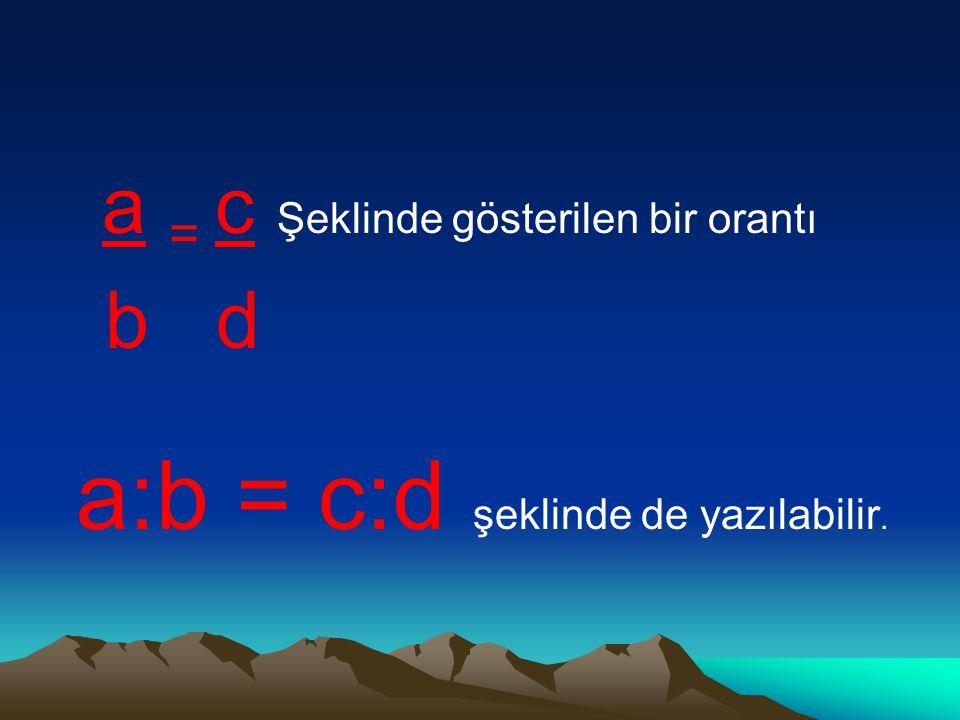 a = c Şeklinde gösterilen bir orantı