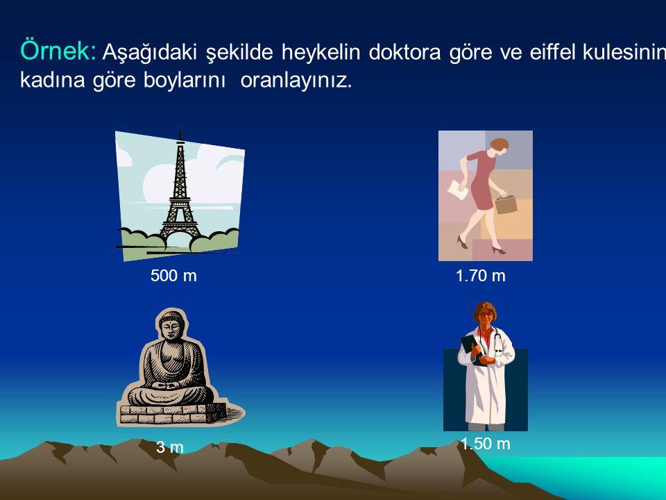Örnek: Aşağıdaki şekilde heykelin doktora göre ve eiffel kulesinin iş kadına göre boylarını oranlayınız.