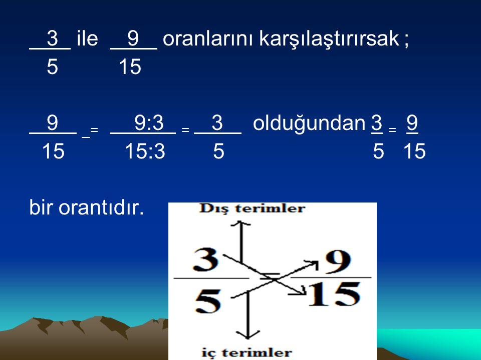3 ile 9 oranlarını karşılaştırırsak ;