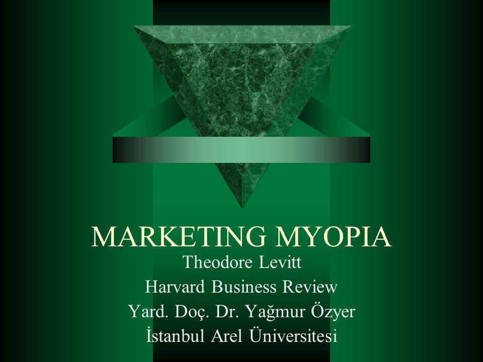 MARKETING MYOPIA Theodore Levitt Harvard Business Review