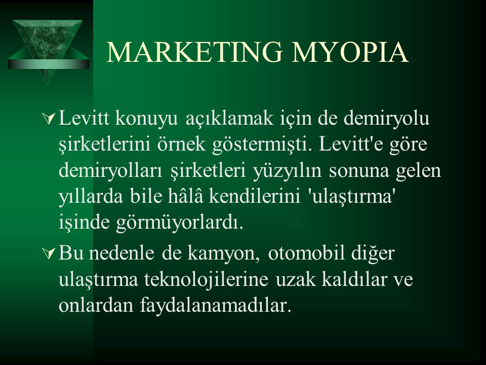 marketing myopia levitt A business suffering from marketing myopia lacks vision to succeed in this lesson, you'll learn about marketing myopia and be provided some.