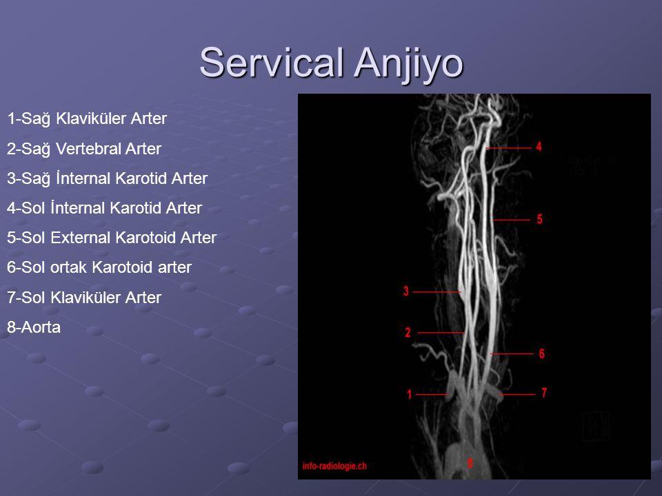 Servical Anjiyo 1-Sağ Klaviküler Arter 2-Sağ Vertebral Arter