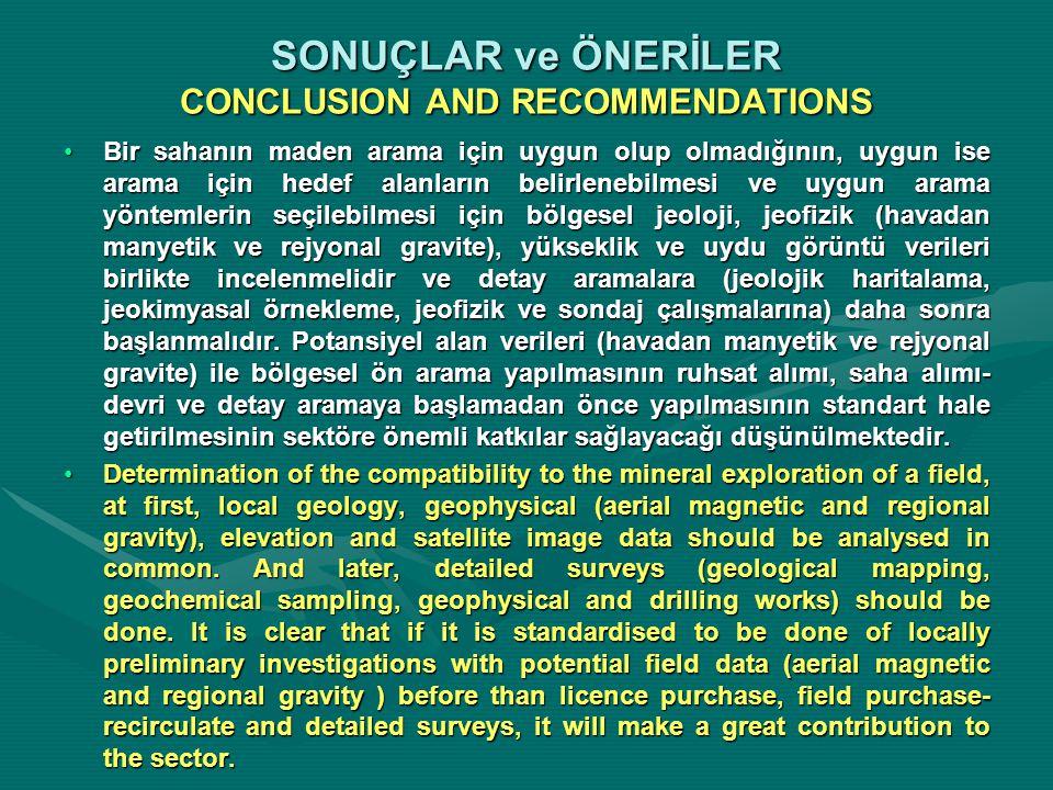 SONUÇLAR ve ÖNERİLER CONCLUSION AND RECOMMENDATIONS