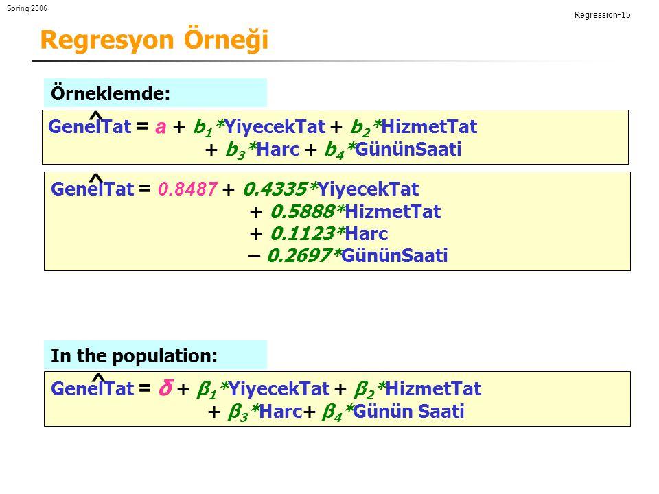 Regresyon Örneği ^ ^ ^ Örneklemde: