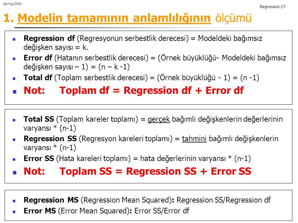 1. Modelin tamamının anlamlılığının ölçümü