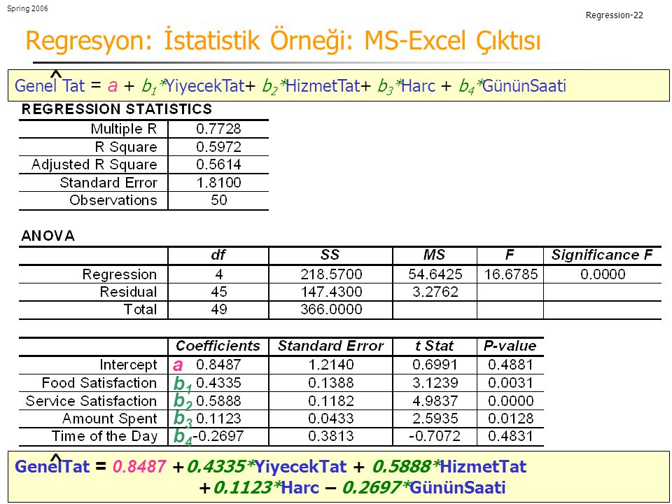 Regresyon: İstatistik Örneği: MS-Excel Çıktısı