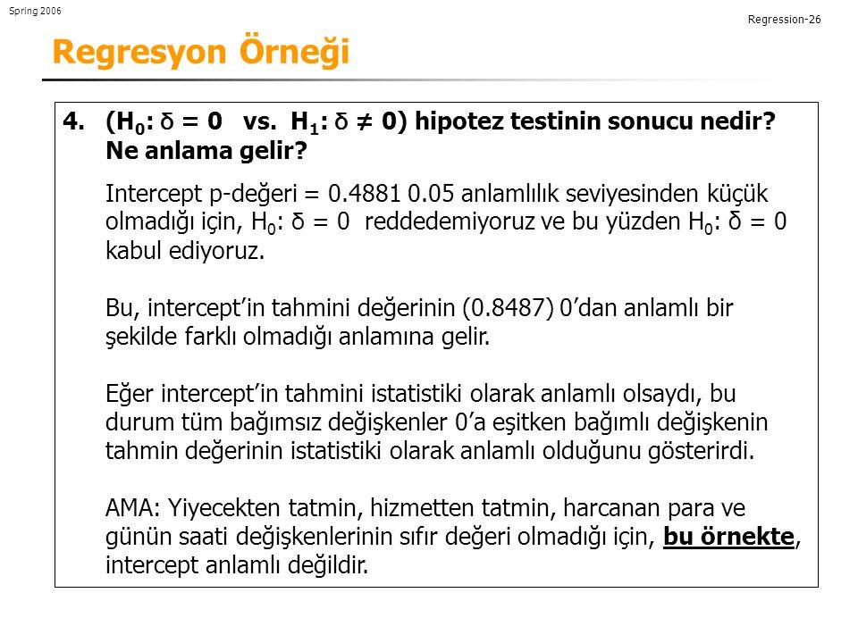 Regresyon Örneği (H0: δ = 0 vs. H1: δ ≠ 0) hipotez testinin sonucu nedir Ne anlama gelir
