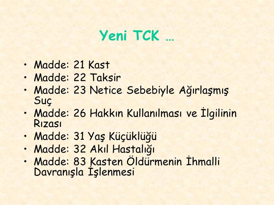 Yeni TCK … Madde: 21 Kast Madde: 22 Taksir