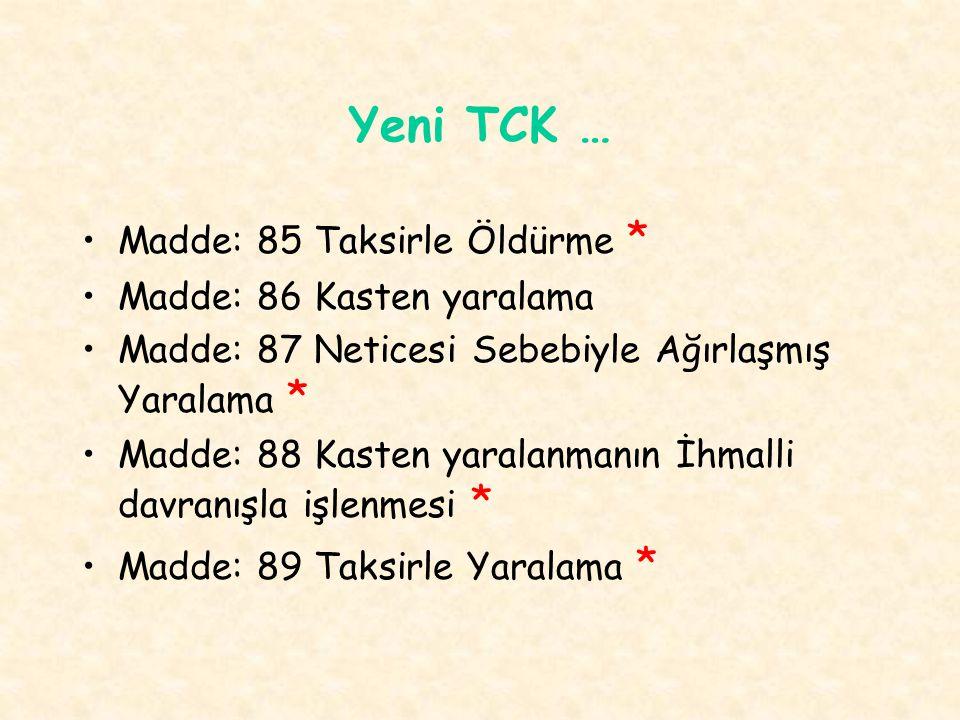 Yeni TCK … Madde: 85 Taksirle Öldürme * Madde: 86 Kasten yaralama