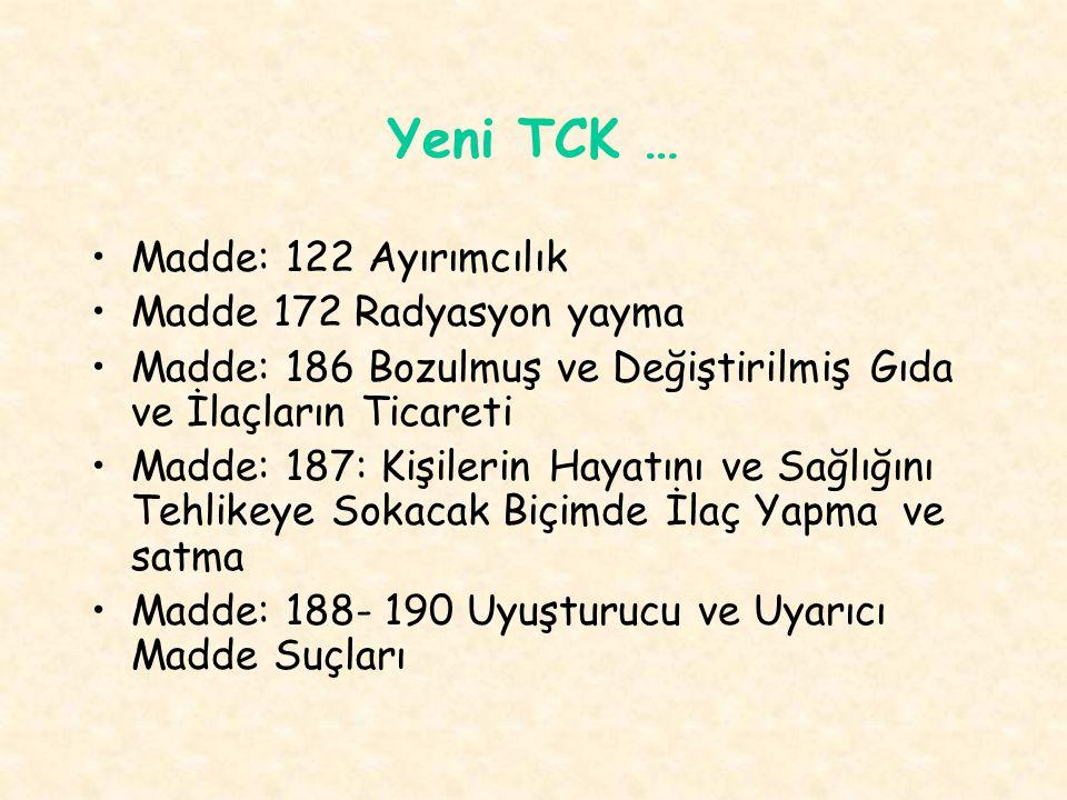 Yeni TCK … Madde: 122 Ayırımcılık Madde 172 Radyasyon yayma