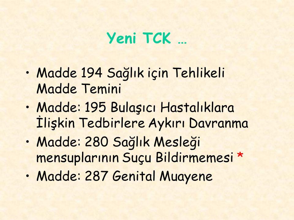 Yeni TCK … Madde 194 Sağlık için Tehlikeli Madde Temini