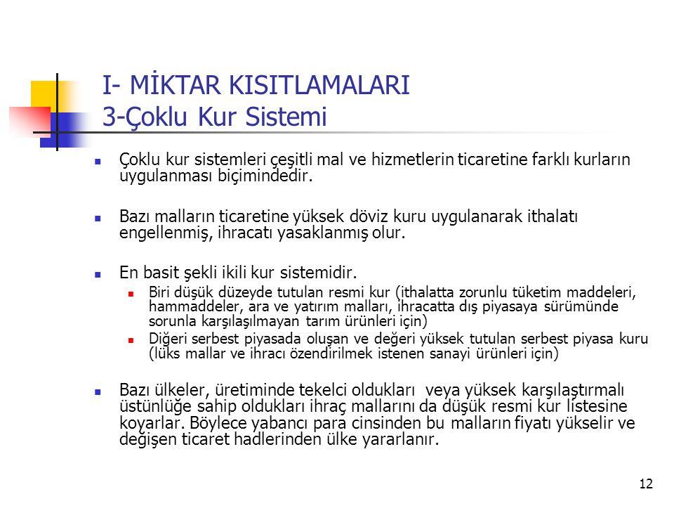 I- MİKTAR KISITLAMALARI 3-Çoklu Kur Sistemi