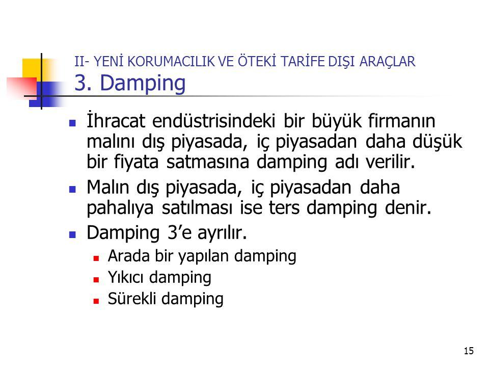 II- YENİ KORUMACILIK VE ÖTEKİ TARİFE DIŞI ARAÇLAR 3. Damping