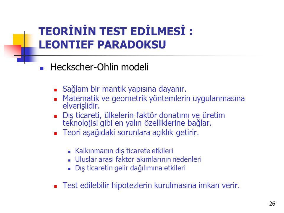 TEORİNİN TEST EDİLMESİ : LEONTIEF PARADOKSU