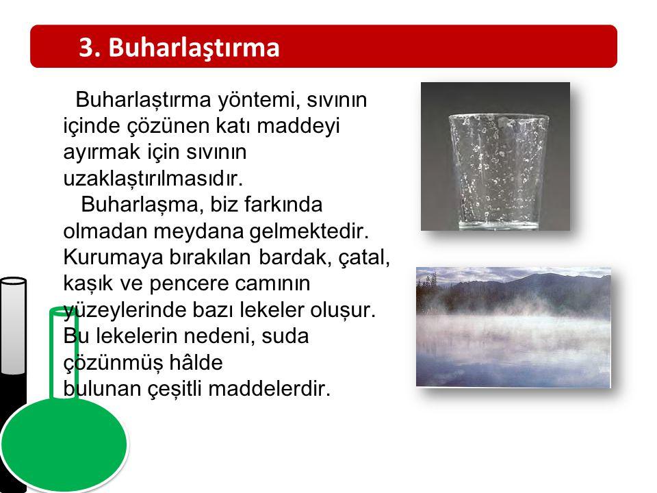 3. Buharlaştırma Buharlaştırma yöntemi, sıvının içinde çözünen katı maddeyi ayırmak için sıvının uzaklaştırılmasıdır.