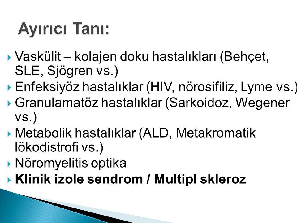 Ayırıcı Tanı: Vaskülit – kolajen doku hastalıkları (Behçet, SLE, Sjögren vs.) Enfeksiyöz hastalıklar (HIV, nörosifiliz, Lyme vs.)