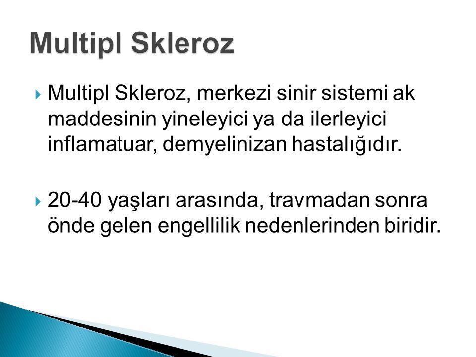 Multipl Skleroz Multipl Skleroz, merkezi sinir sistemi ak maddesinin yineleyici ya da ilerleyici inflamatuar, demyelinizan hastalığıdır.
