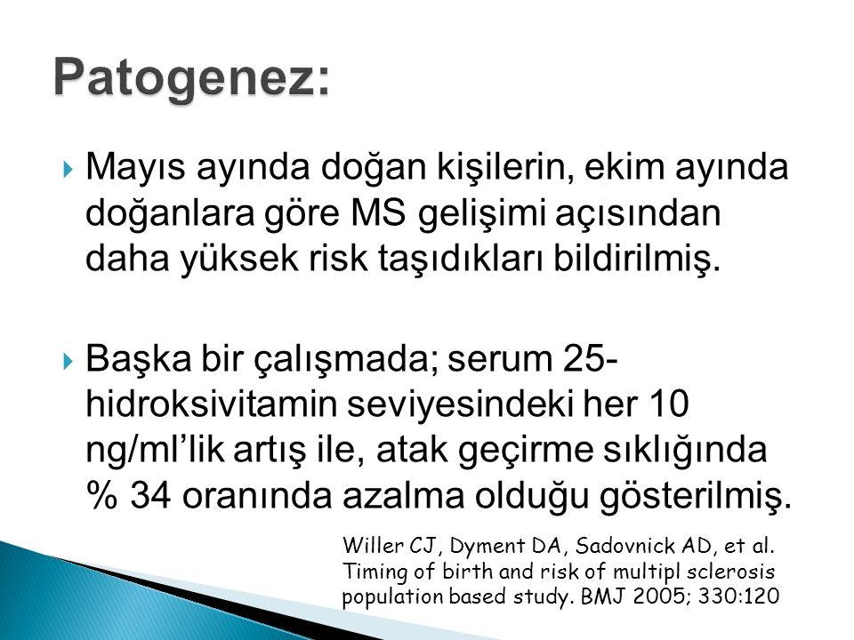 Patogenez: Mayıs ayında doğan kişilerin, ekim ayında doğanlara göre MS gelişimi açısından daha yüksek risk taşıdıkları bildirilmiş.