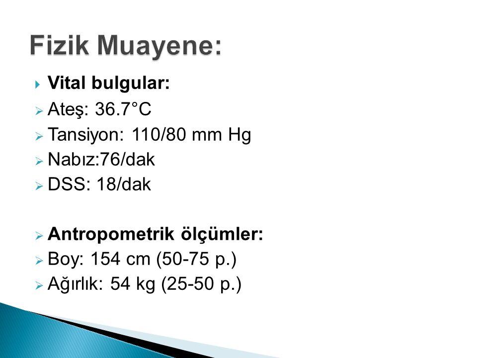 Fizik Muayene: Vital bulgular: Ateş: 36.7°C Tansiyon: 110/80 mm Hg