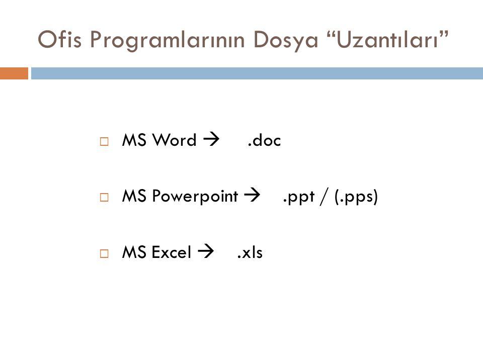 Ofis Programlarının Dosya Uzantıları