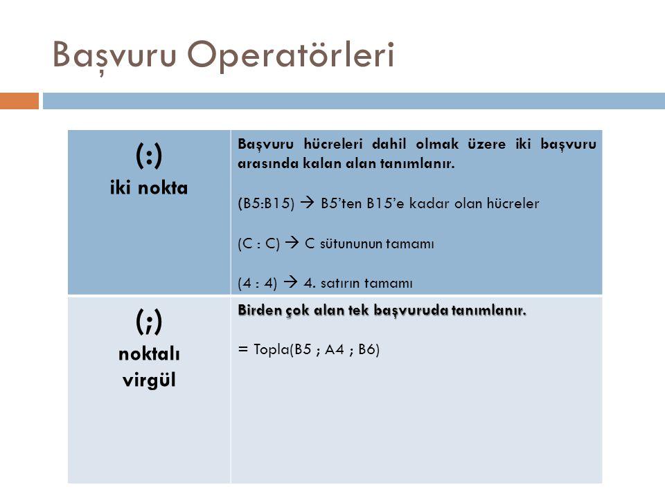 Başvuru Operatörleri (:) (;) iki nokta noktalı virgül
