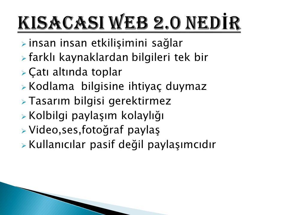 KISACASI WEB 2.0 NEDİR insan insan etkilişimini sağlar