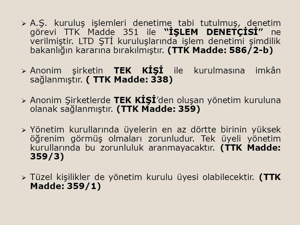 A.Ş. kuruluş işlemleri denetime tabi tutulmuş, denetim görevi TTK Madde 351 ile İŞLEM DENETÇİSİ ne verilmiştir. LTD ŞTİ kuruluşlarında işlem denetimi şimdilik bakanlığın kararına bırakılmıştır. (TTK Madde: 586/2-b)