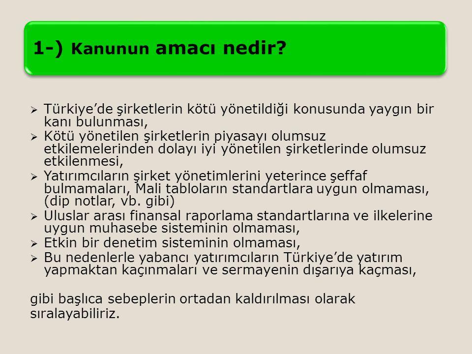 1-) Kanunun amacı nedir Türkiye'de şirketlerin kötü yönetildiği konusunda yaygın bir kanı bulunması,
