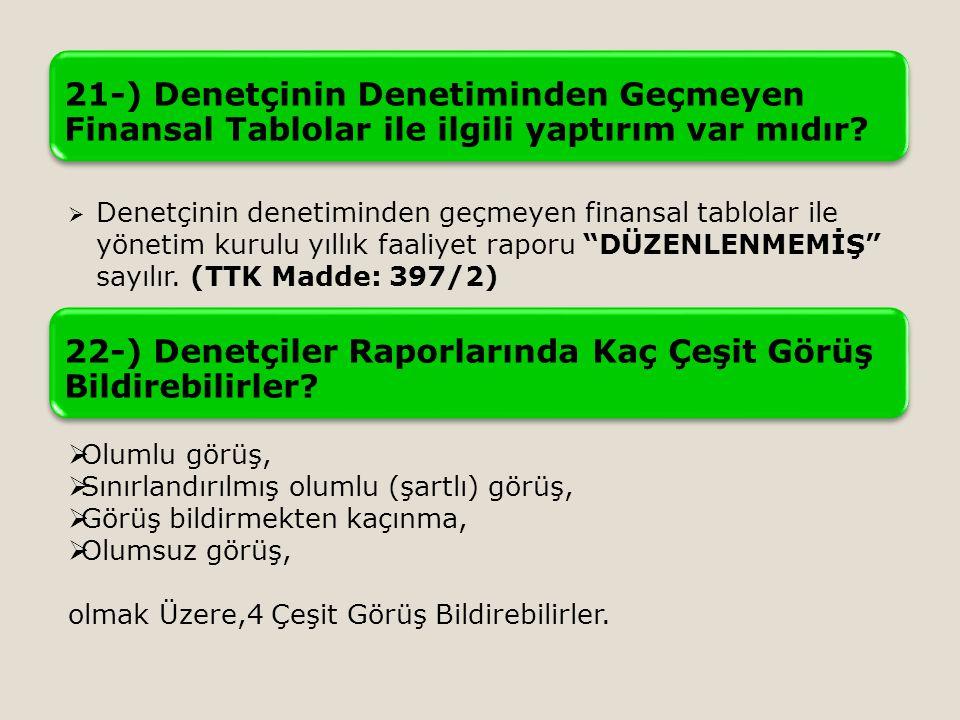 22-) Denetçiler Raporlarında Kaç Çeşit Görüş Bildirebilirler