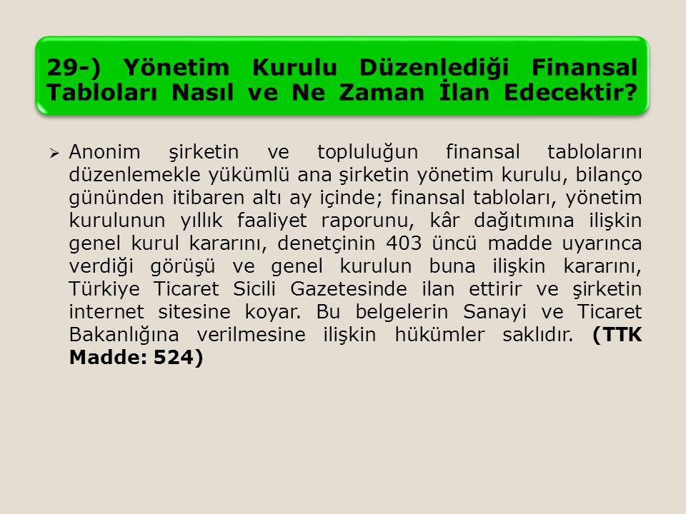 29-) Yönetim Kurulu Düzenlediği Finansal Tabloları Nasıl ve Ne Zaman İlan Edecektir