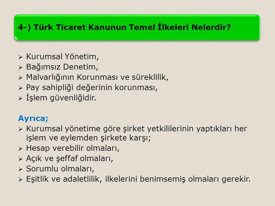 4-) Türk Ticaret Kanunun Temel İlkeleri Nelerdir