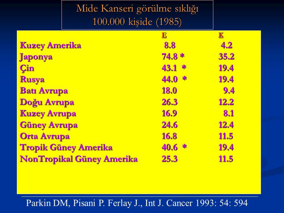 Mide Kanseri görülme sıklığı 100.000 kişide (1985)