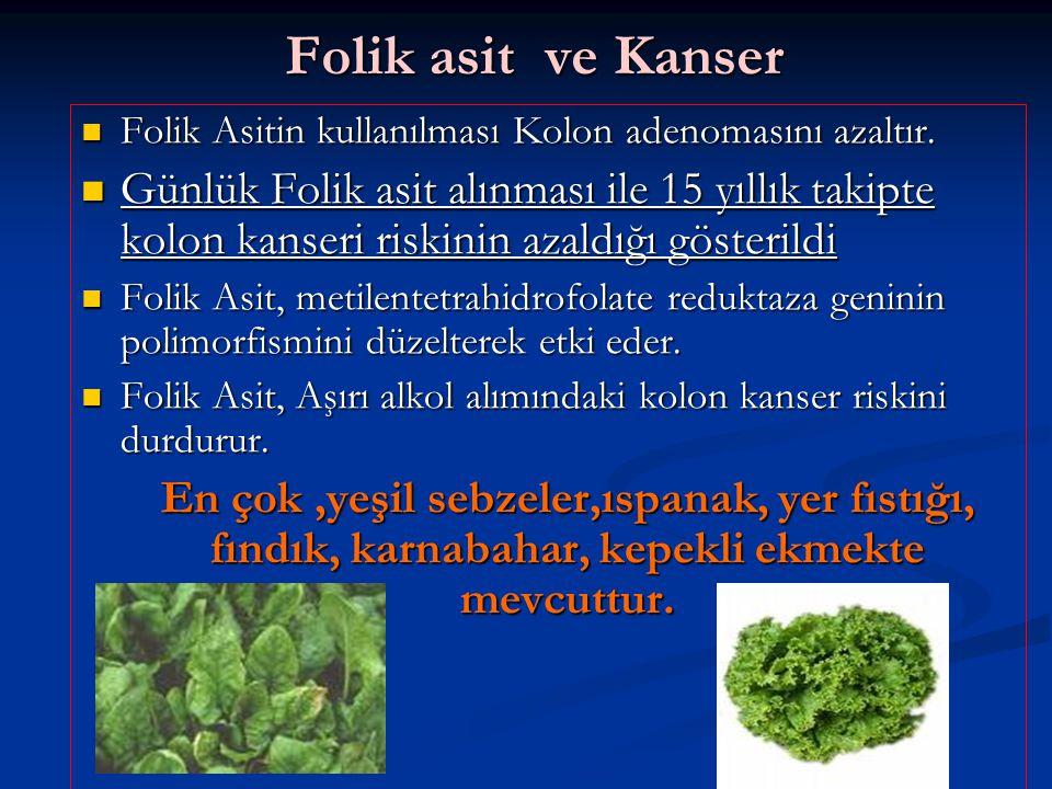 Folik asit ve Kanser Folik Asitin kullanılması Kolon adenomasını azaltır.